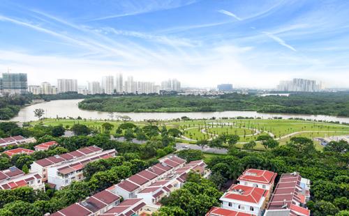 Tiến độ thi công thực tế tại công viên bờ sông có quy mô 88.900 m2.