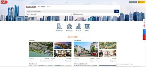 Giao diện trang chủ nhadat.vnexpress.net.