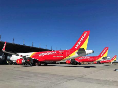 Đội tàu bay hiện đại của hãng hàng không Vietjet Air.