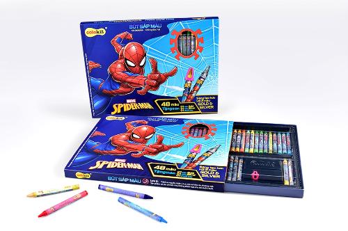Bộ bút sáp tô màu Người Nhện khổng lồ với tổng cộng đến 48 màu của Thiên Long
