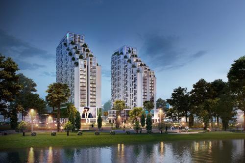 Phối cảnh dự án Lux Garden với thiết kế giật cấp mở rộng diện tích cây xanh, mặt nước.
