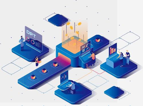 Giải pháp điện toán đám mây phi taapj trung và sàn Blockchain được kỳ vọng sẽ giúp các công ty công nghệ AI tiết kiệm chi phi tính toán, vận hành cũng như thu hút nguồn vốn. Đồ họa: DBC