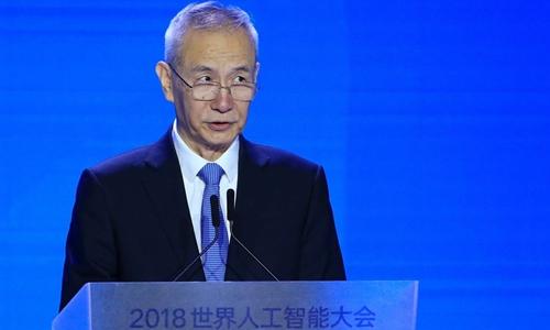 Phó thủ tướng Trung Quốc - Lưu Hạc trong một sự kiện về trí tuệ nhân tạo tuần này. Ảnh: Reuters