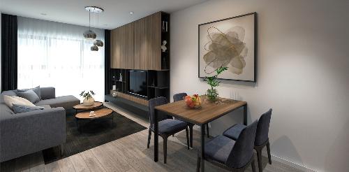 Phòng khách căn hộ Areca Garden thiết kế hiện đại, tối ưu hóa không gian, nhiều ánh sáng tự nhiên và khí trời.