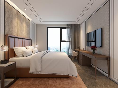 Phòng ngủ được thiết kế tinh tế, tràn ngập ánh sáng tự nhiên