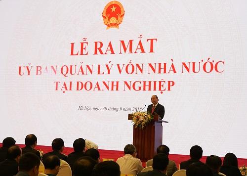 Thủ tướng Nguyễn Xuân Phúc phát biểu tại tại Lễ ra mắt Ủy ban Quản lý vốn nhà nước tại doanh nghiệp. Ảnh: Minh Sơn