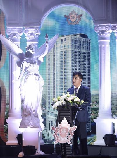 Ông Trần Văn Kỳ - Chủ tịch HĐQT Công ty cổ phần đầu tư hạ tầng và công trình kiến trúc Hà Nội (Hateco) phát biểu tại buổi lễ