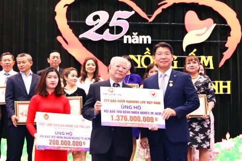 Ông Back Jong Kook (bìa trái), Chủ tịch Hội đồng thành viên kiêm Tổng giám đốc Hanwha Life trao biển tài trợ cho ông Trần Thành Long, Chủ tịch Hội Bảo trợ Bệnh nhân nghèo TP HCM.