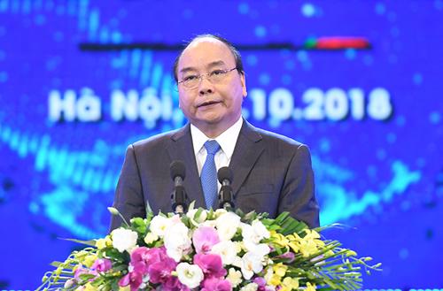 Thủ tướng Nguyễn Xuân Phúc phát biểu tại hội nghị tổng kết 30 năm thu hút FDI. Ảnh:VGP