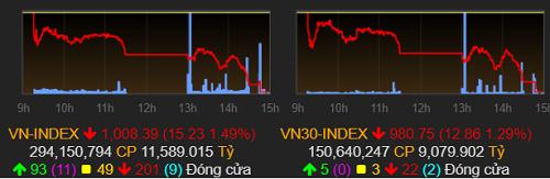VN-Index đã về dưới 1.010 điểm sau phiên giảm mạnh hôm nay. Ảnh: VNDirect