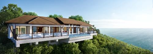 Kiến trúc mở cùng hồ bơi vô cực đặc trưng của biệt thự biển Banyan Tree Residences.