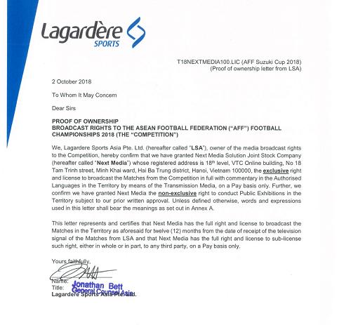 Bản quyền giải AFF Cup 2018từ Lagardere Sports cấp cho Next Media. Ảnh:M.T