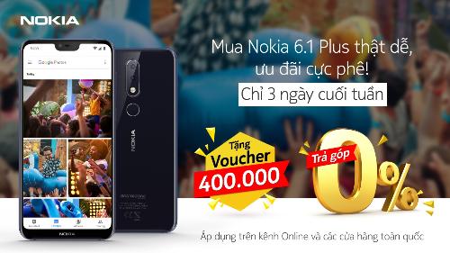 Nokia tặng voucher mua sắm phụ kiện với giá trị lên đến 400.000 đồng cho bất kỳ khách hàng nào mua smartphone Nokia 6.1 Plus vào ba ngày cuối tuần (Thứ Sáu, thứ Bảy và Chủ Nhật).