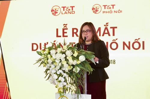 Bà Nguyễn Quỳnh Mai Đại diện chủ đầu tư - công bố Ra mắt dự án T&T Phố Nối