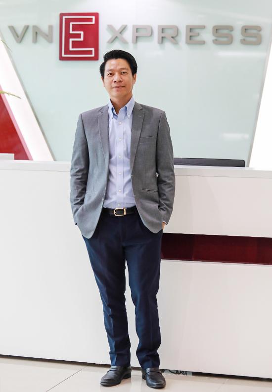 Ông Ngô Quang Phúc - Tổng giám đốc Phú Đông Group tham gia tọa đàm trực tuyến Cơ hội nào cho startup trong ngành bất động sản tại tòa soạn VnExpress. Ảnh: Thành Nguyễn.