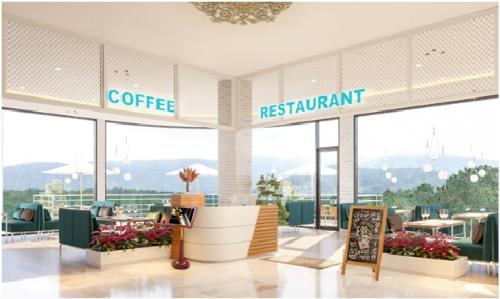 Phối cảnh khu Coffee Restaurant của Đà Lạt Travel Mall.