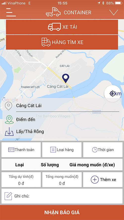 Giao diện ứng dụng đặt xe tải, xe container Loglag.
