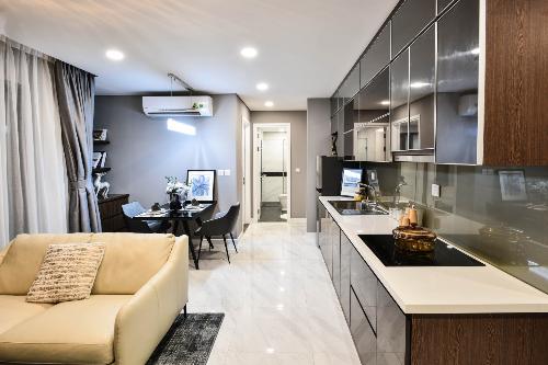 Không gian phòng khách tại các căn hộ của D. El Dorado được thiết kế nhỏ gọn, sang trọng