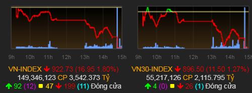 VN-Index tiếp tục mất gần 17 điểm trong phiên giao dịch hôm nay. Ảnh: VNDirect