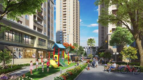 Một phần cảnh quan của dự án gồm khu vui chơi trẻ em ngoài trời và đường dạo bộ.