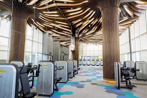 Phòng gym thông tầng với trang thiết bị hiện đại, thiết kế sang trọng.