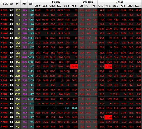 Một loạt cổ phiếu chìm trong sắc đỏ. Ảnh: SSI