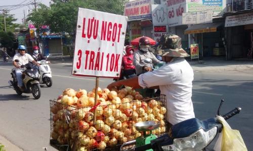 Lựu Trung Quốc bán đầy đường Việt Nam. Ảnh: Thi Hà.