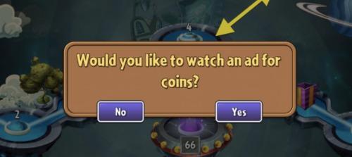Một lời mời xem video quảng cáo để được nhận thêm xu trong game. Ảnh: GameAnalytics