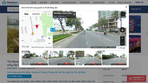Tính năng Street view tại Homedy cho phép người dùng có thể xem bất động sản qua Internet.