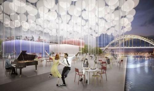 Các kiến trúc sưphân chia không gian bên trong nhà hàng theo những cột thép mỏng, đồng thời tận dụng nguồn sáng từ những quả bóng bay ETFE có khả năng điều chỉnh hấp thu năng lượng mặt trời, MPN + Partner tạo nên một chiếc hộp kính ẩm thực trong suốt, giúp xóa nhòa ranh giới với không gian xung quanh.Những quả bóng bay ETFE giúp cung cấp ánh sáng tự nhiên cho toàn bộ nhà hàng.Công trình với cảm hứng lãng mạn đạm chất Parisnày đem tới cho MPN + Partner Giải Ba trong cuộc thi thiết kế do Archasm tổ chức.