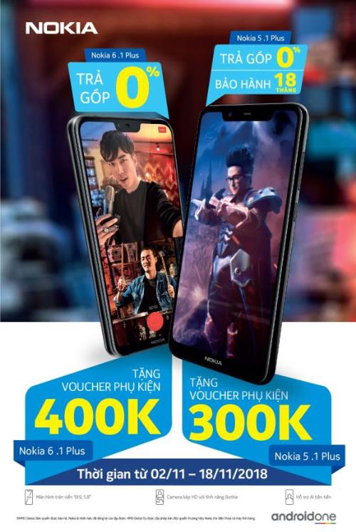 Nokia 6.1 Plus và Nokia 5.1 Plus có mức giá lần lượt là 6.590.000 VNĐ và 4.790.000 VNĐ