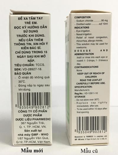 Pharmedic thay đổi mẫu mã sản phẩm Natri Clorid 0,9% - 1