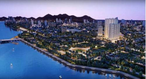 Tổng thể quy hoạch 3D dự án căn hộ nghỉ dưỡng Monarchy ven bờ sông Hàn, Đà Nẵng.