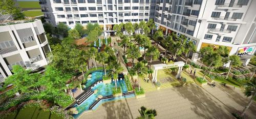 Toàn cảnh khu vườn nhiệt đới tại dự án căn hộ nghỉ dưỡng Monarchy - Đà Nẵng