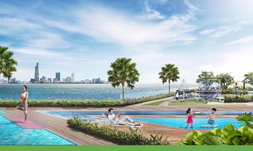 Phối cảnh hồ bơi 4 mùa bên trong dự án.