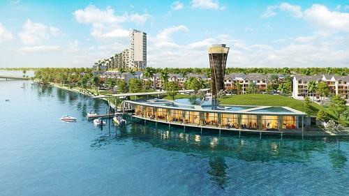 Vị trí hướng ra dòng Nhật Lệ xinh đẹp tạo nên lợi thế cho Marina Riverside.
