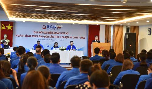 Đồng chí Đinh Văn Thành - Bí thư Đảng ủy kiêm Chủ tịch HĐQT SCB phát biểu tại Đại hội Đoàn thanh niên cộng sản lần thứ II, nhiệm kỳ 2018-2023