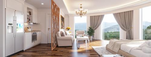 Mỗi căn khách sạn hoàn thiện nội thất tại dự án có giá từ 1,2 tỷ.