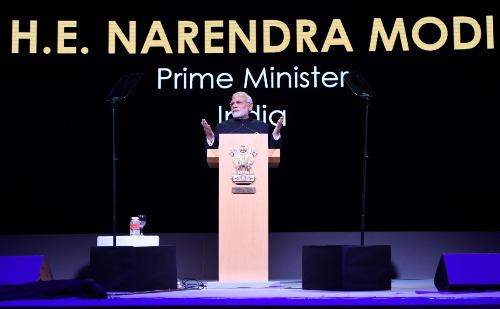 Thủ tướng Ấn Độ Narendra Modi phát biểu tại Singapore Fintech Festival. Ảnh: PMINDIA