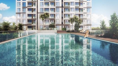 Hồ bơi nước ấm tràn bờ dự án Ascent Plaza.