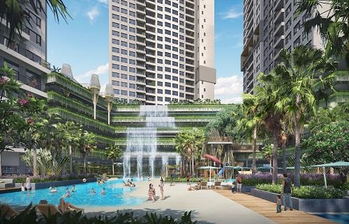 Dự án The Infiniti mang đến không gian cảnh quan xanh mát đậm chất Hawaii. Ảnh phối cảnh dự án.
