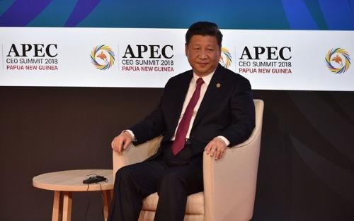 Chủ tịch Trung Quốc - Tập Cận Bình trong sự kiện sáng nay. Ảnh: Bloomberg
