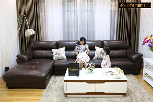 Sofa da đẹp được đánh giá cao ở gu thẩm mỹ nổi bật, mang đến sự sang trọng cho không gian phòng khách.