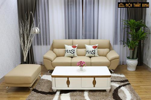 Sofa da dành cho phòng khách nhỏ gọn gam màu trung tính dễ dàng kết hợp với đồ nội thất trong không gian