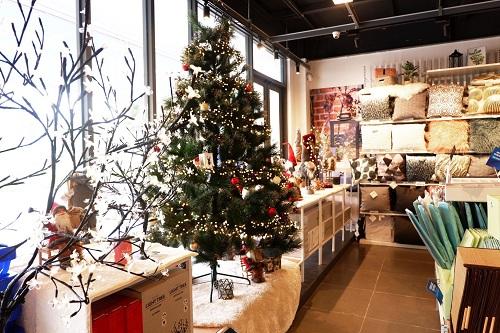 Những sản phẩm mùa Giáng Sinh mới nhất trưng bày đẹp mắt tại cửa hàng.
