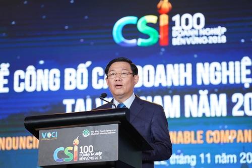 Ủy viên Bộ Chính trị, Phó Thủ tướng Vương Đình Huệ phát biểu tại sự kiện công bố doanh nghiệp bền vững năm 2018 diễn ra vào 22/11 tại Hà Nội.