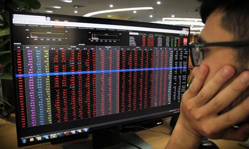 Nhà đầu tư xem bảng giá trực tuyến của một công ty chứng khoán. Ảnh: Anh Tú