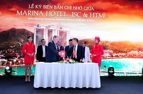 Đại diện Marina Hotel .JSC và HTMi ký kết thỏa thuận hợp tác đào tạo nguồn nhân lực dịch vụ khách sạn chuẩn 5 sao. Hotline: 024 2222 6789. Website