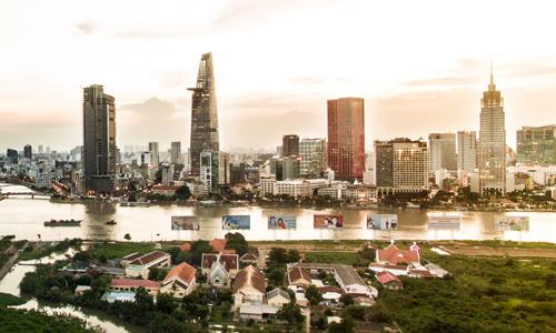 Khu trung tâm và các quận nội thành TP HCM. Ảnh: Lucas Nguyễn.