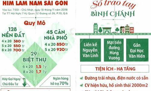 Tờ rơi bị cho là vi phạm pháp luật của các đơn vị môi giới mượn danh Công ty Him Lam để bán dự án.